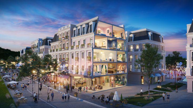 Diện tích Shophouse Bãi Kem lên đến 525m2, cao 05 tầng; hơn 90% quỹ căn vị trí góc & kề góc có 02 mặt thoáng dễ dàng khai thác kinh doanh đa loại hình không giới hạn