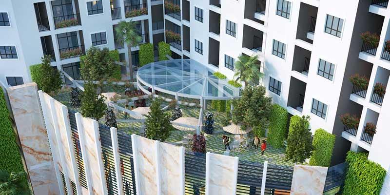 Sân vườn hiện đại trên cao của dự án Condotel Hạ Long Bay.