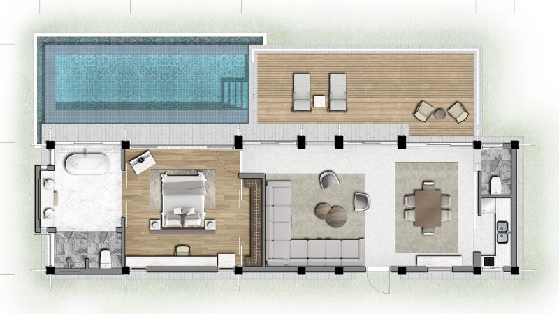Mặt bằng biệt thự Banyan Tree Residences 1 phòng ngủ
