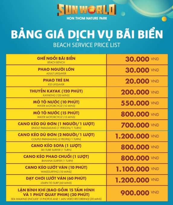 Mức giá các dịch vụ bãi biển trong khu giải trí Sun World Hon Thom Nature Park