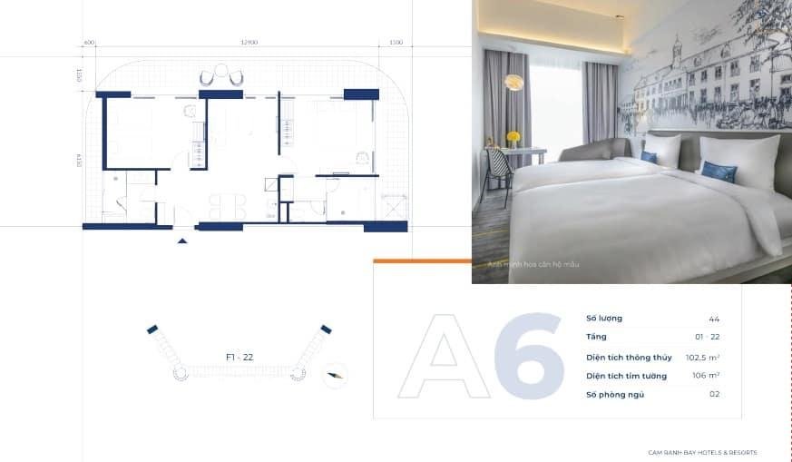 Mặt bằng 2 phòng ngủ dự án Cam Ranh Bay