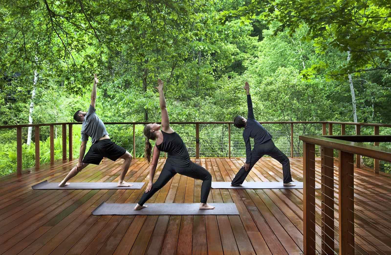 Tập yoga giữa rừng xanh thơ mộng, trong lành