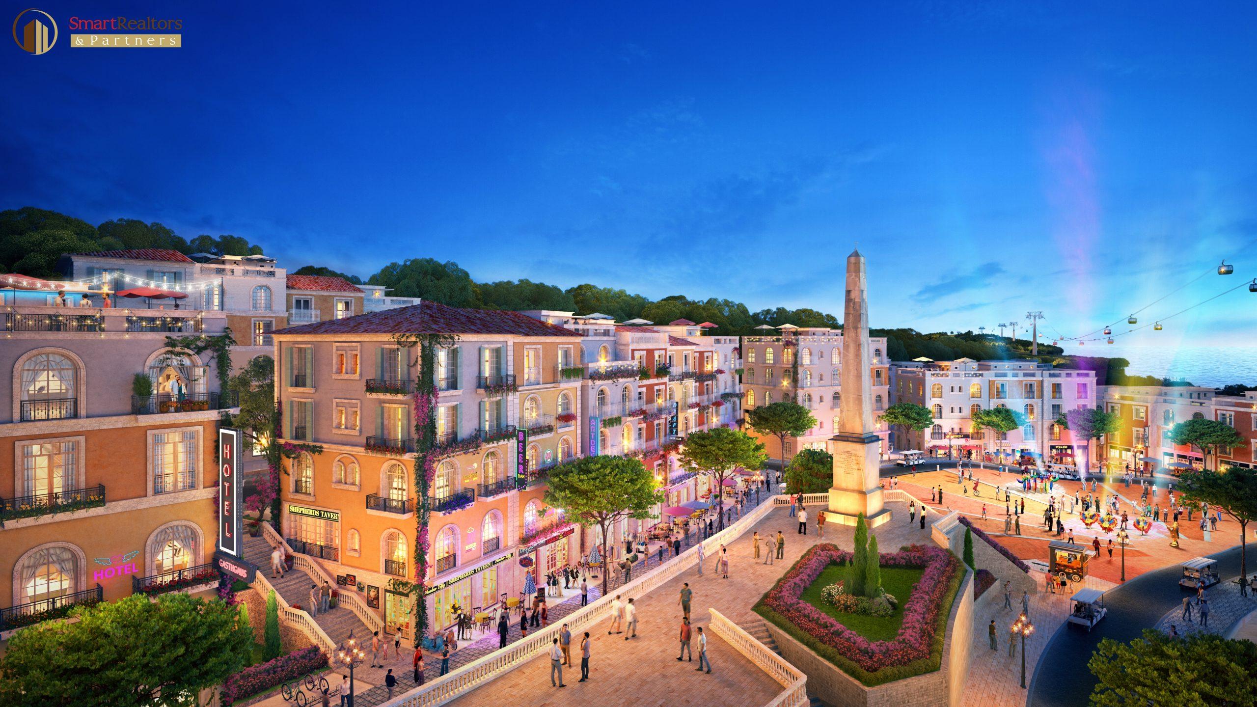 shophouse Địa Trung Hải - The Center phù hợp kinh doanh đa lĩnh vực như lưu trú, F&B, spa, thời trang, nghệ thuật, du lịch - lữ hành
