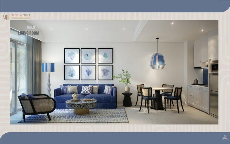 Nội thất căn hộ được bàn giao theo phong cách Santorini độc đáo với gam màu tinh tế, sang trọng