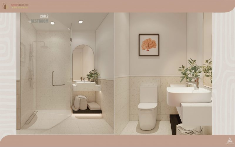Phối cảnh phòng vệ sinh của căn hộ 2 phòng ngủ với chiếc gương hình mái vòm cùng tone cam trắng nhẹ nhàng, tinh tế