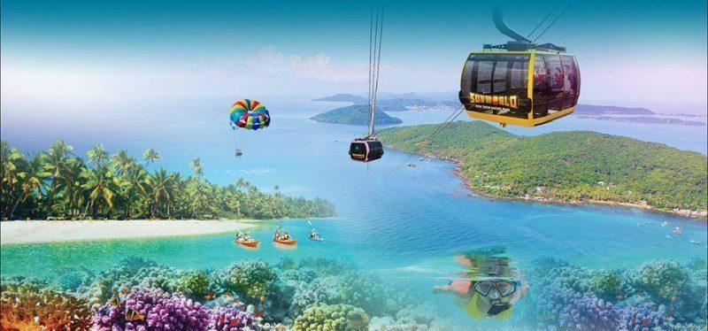 Cáp treo Hòn Thơm kết nối thị trấn Địa Trung Hải và công viên vui chơi giải trí Sun World Hon Thom Nature Park