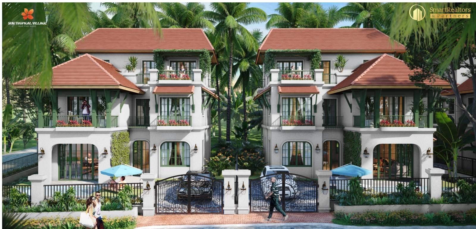 Phối cảnh biệt thự nghỉ dưỡng - Villa Tropical Village
