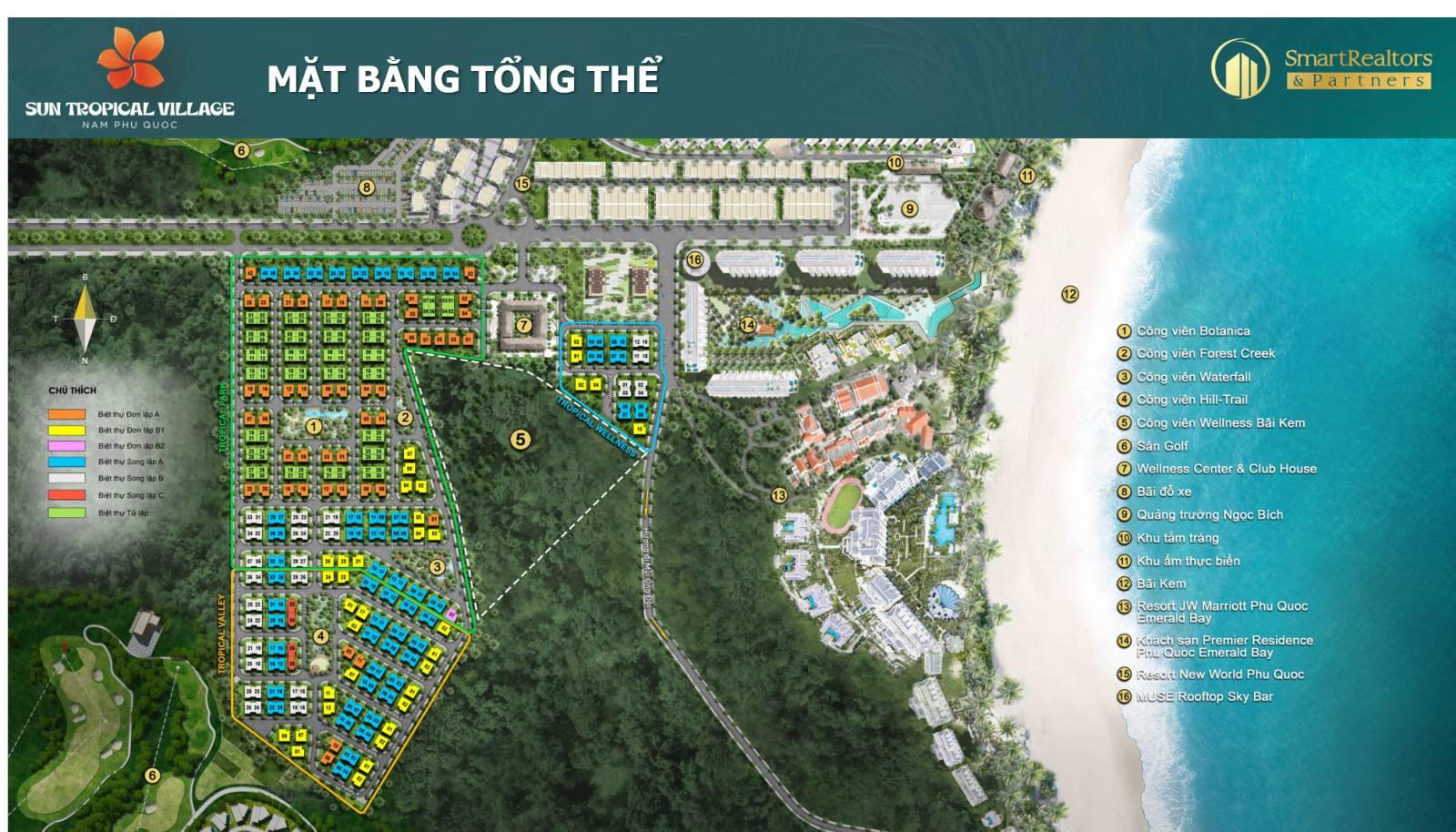 Vị trí 5 công viên chủ đề tại dự án biệt thự làng nhiệt đới